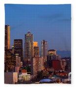 Seattle Winter Evening Panorama Fleece Blanket