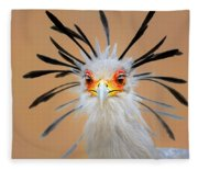 Secretary Bird Portrait Close-up Head Shot Fleece Blanket