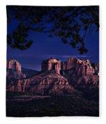 Sedona Cathedral Rock Post Sunset Glow Fleece Blanket