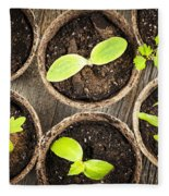 Seedlings Growing In Peat Moss Pots Fleece Blanket