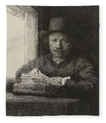 Self-portrait Etching At A Window Fleece Blanket