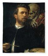 Self Portrait With Death Fleece Blanket