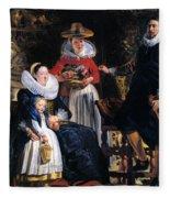 Self-portrait With Family Fleece Blanket