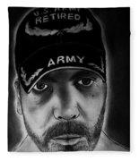 Self Portrait With Us Army Retired Cap Fleece Blanket