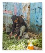 Selling Herbs In The Souk Fleece Blanket