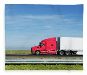 Semi Truck Moving On The Highway Fleece Blanket