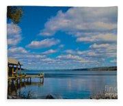 Seneca Lake At Glenora Point Fleece Blanket