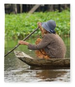 Senior Woman Paddling A Boat Fleece Blanket