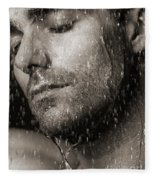 Sensual Portrait Of Man Face Under Pouring Water Black And White Fleece Blanket
