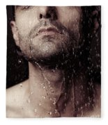 Sensual Portrait Of Man Face Under Shower Fleece Blanket