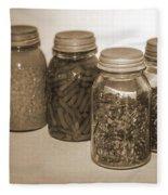 Sephia Vintage Kitchen Glass Jar Canning Fleece Blanket