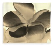 Sepia Bloom Negative Fleece Blanket