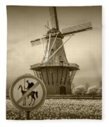 Sepia Colored No Tilting At Windmills Fleece Blanket