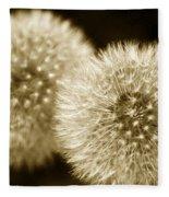 Sepia Dandelions Fleece Blanket