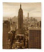 Sepia Empire State Building New York City Fleece Blanket