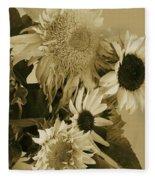Sepia Garden Sunflower Bouquet Fleece Blanket