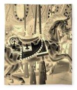 Sepia Horse Fleece Blanket