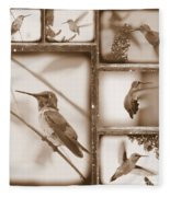 Sepia Hummingbird Collage Fleece Blanket