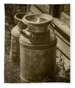 Sepia Photo Of Vintage Creamery Cans At The Old Prairie Homestead Near The Badlands Fleece Blanket
