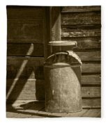 Sepia Photograph Of Vintage Creamery Can By The Old Homestead In 1880 Town Fleece Blanket