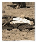 Sepia Rodeo Gunslinger Victim Fleece Blanket