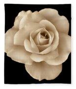 Sepia Rose Flower Portrait Fleece Blanket