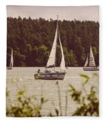 Sepia Sailing Fleece Blanket