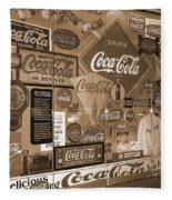 Sepia Toned Signs Of Coca Cola Fleece Blanket