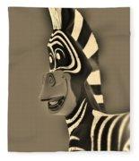 Sepia Zebra Fleece Blanket