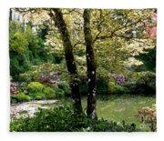 Serene Garden Retreat Fleece Blanket