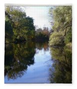 Serenity Pond Reflection At Limehouse Ontario Fleece Blanket