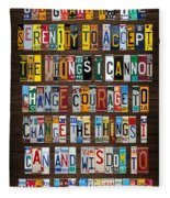 Serenity Prayer Reinhold Niebuhr Recycled Vintage American License Plate Letter Art Fleece Blanket