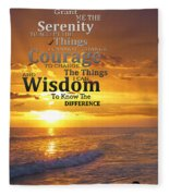Serenity Prayer With Sunset By Sharon Cummings Fleece Blanket
