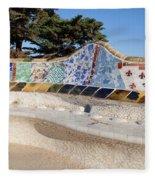 Serpentine Bench In Park Gueli In Barcelona Fleece Blanket