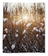 Setting Sun In Winter Forest Fleece Blanket