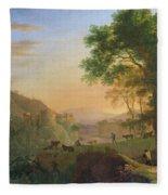 Setting Sun, Italy Oil On Canvas Fleece Blanket