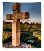 Setting Sun On A Cross By The Trenches Fleece Blanket