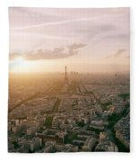 Setting Sun Over Paris Fleece Blanket