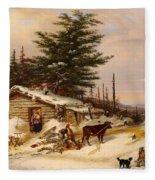 Settler's Log House Fleece Blanket