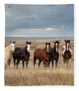 Seven Horses On The Range Fleece Blanket