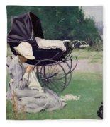 Sewing In The Sun, 1913 Fleece Blanket