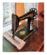 Sewing Machine Near Lace Curtain Fleece Blanket