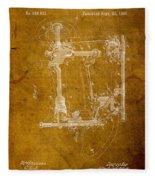 Sewing Machine Vintage Patent On Worn Canvas Fleece Blanket by Design Turnpike