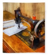 Sewing Machine With Orange Thread Fleece Blanket