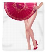 Sexy Asian Woman With Red Oriental Umbrella Fleece Blanket