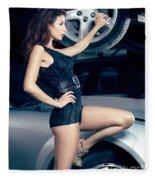 Sexy Mechanic Girl Posing With Cars Fleece Blanket