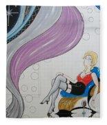Sexy Woman Sitting In A Chair At A Nightclub Fleece Blanket