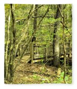 Shades Mountain Bridge In The Forest Fleece Blanket