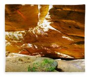 Shades Of Light Shadow And Texture On Cliff Wall Fleece Blanket