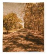 Shadows On Autumn Lane Fleece Blanket